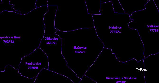 Katastrální mapa Blažovice