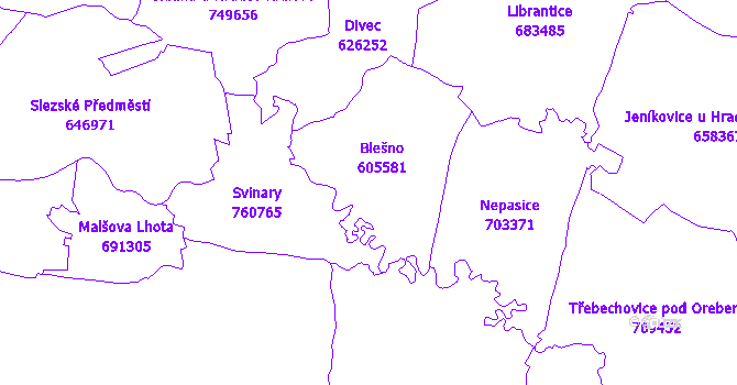 Katastrální mapa Blešno