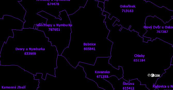 Katastrální mapa Bobnice