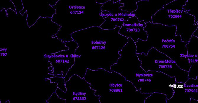Katastrální mapa Bolešiny