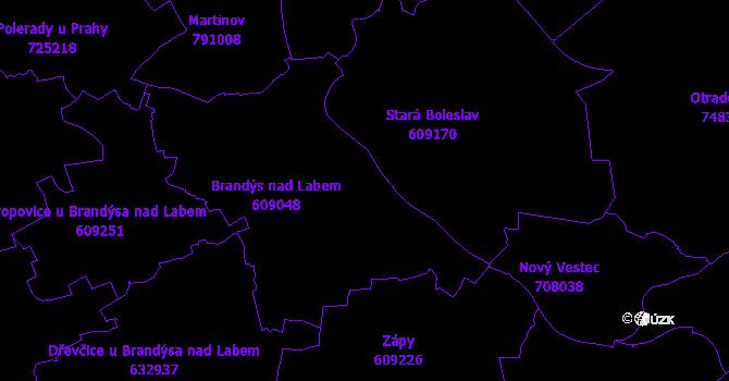 Katastrální mapa Brandýs nad Labem-Stará Boleslav