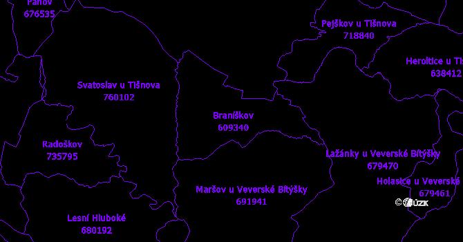 Katastrální mapa Braníškov