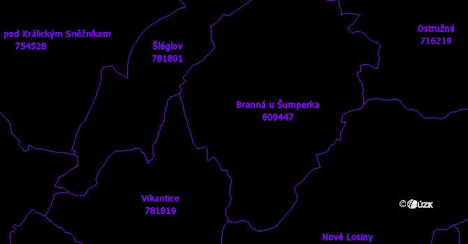 Katastrální mapa Branná