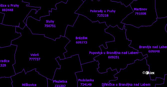 Katastrální mapa Brázdim