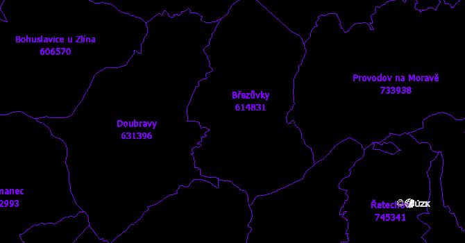 Katastrální mapa Březůvky