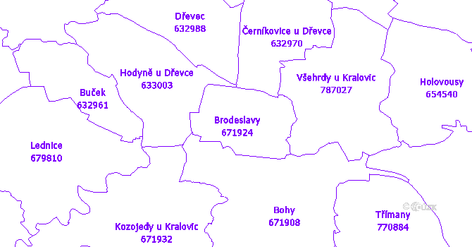 Katastrální mapa Brodeslavy