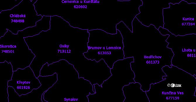 Katastrální mapa Brumov