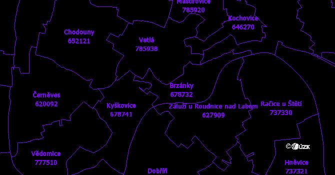 Katastrální mapa Brzánky