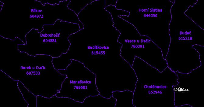 Katastrální mapa Budíškovice