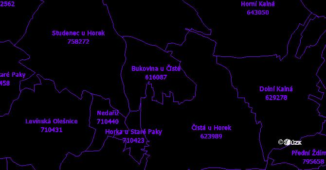 Katastrální mapa Bukovina u Čisté