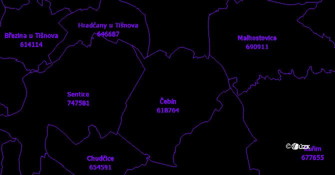 Katastrální mapa Čebín