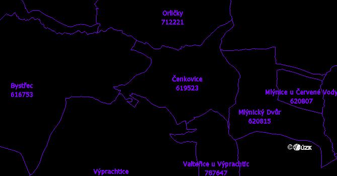 Katastrální mapa Čenkovice