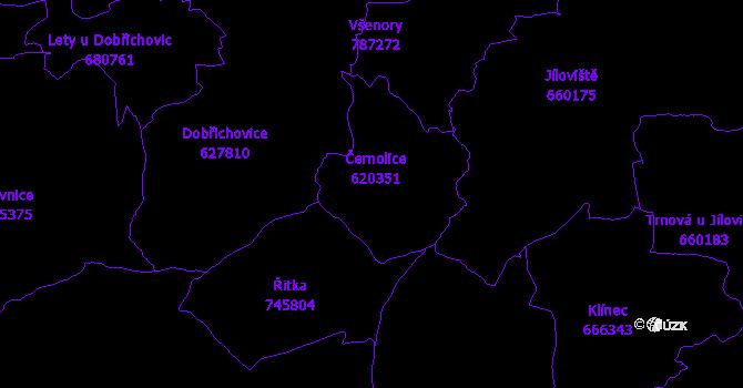 Katastrální mapa Černolice