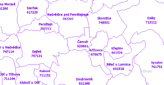 Katastrální mapa Černvír