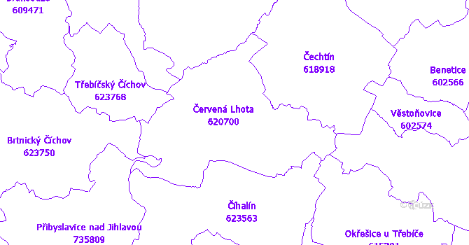 Katastrální mapa Červená Lhota