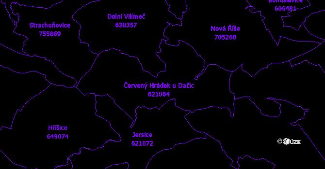 Katastrální mapa Červený Hrádek
