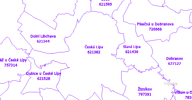 Katastrální mapa Česká Lípa