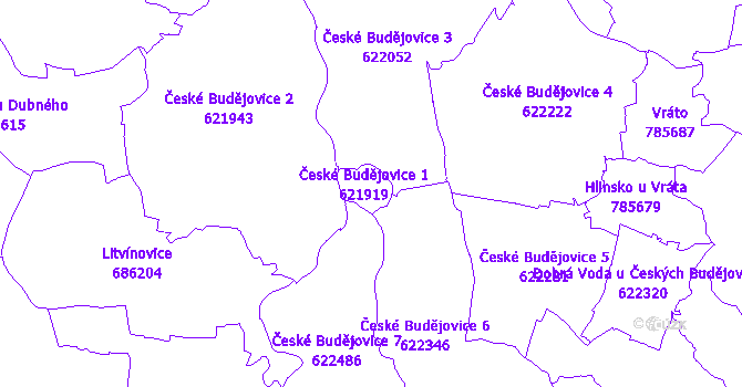 Katastrální mapa České Budějovice