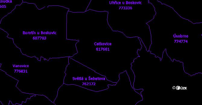 Katastrální mapa Cetkovice