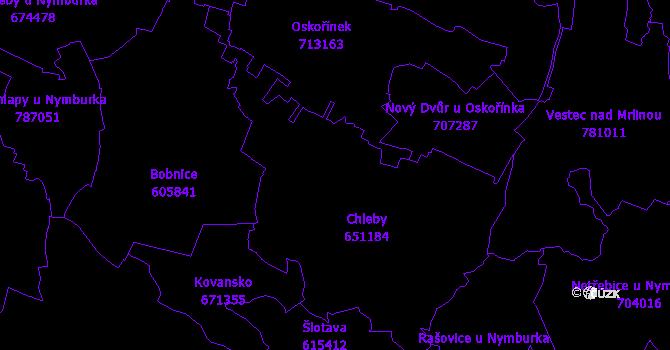 Katastrální mapa Chleby