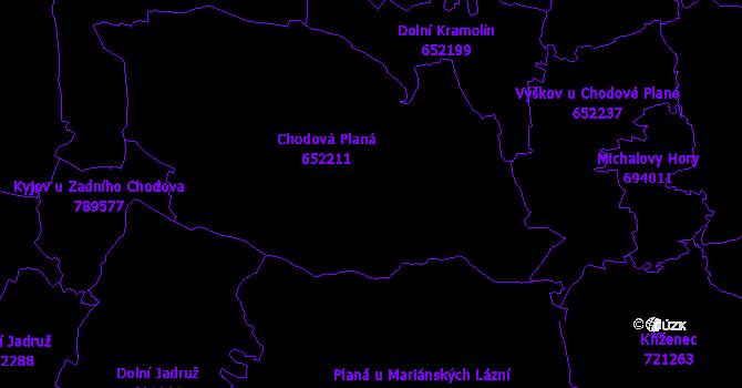 Katastrální mapa Chodová Planá