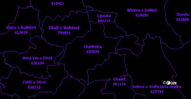 Katastrální mapa Chotěmice