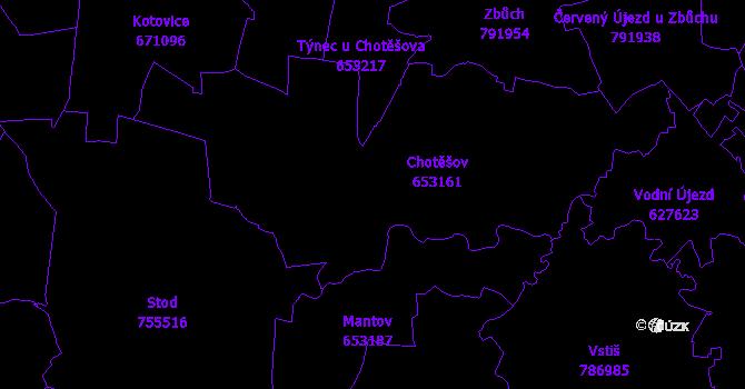 Katastrální mapa Chotěšov