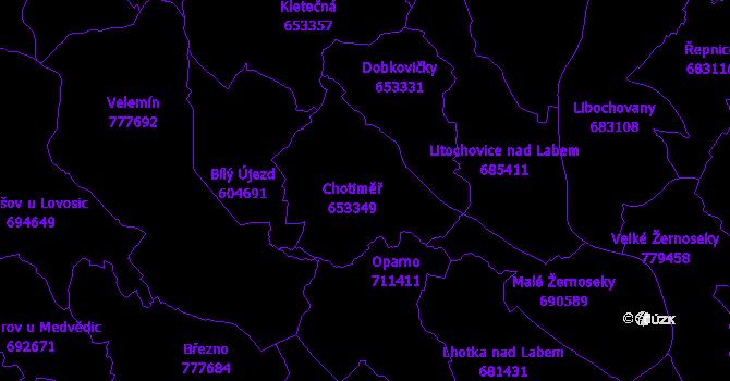 Katastrální mapa Chotiměř