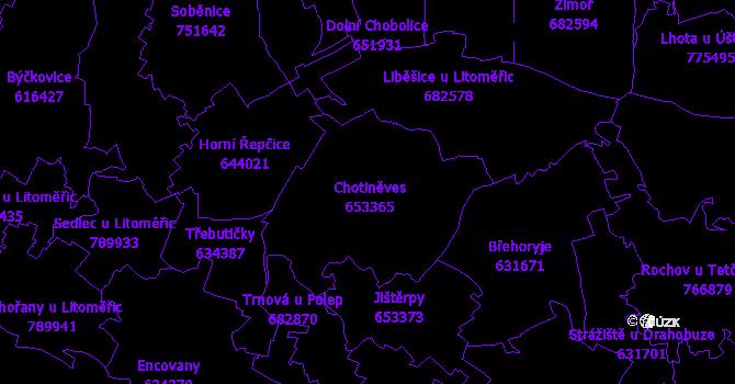 Katastrální mapa Chotiněves