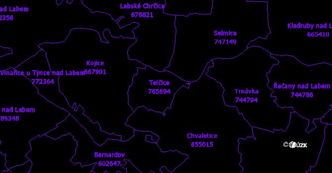 Katastrální mapa Chvaletice
