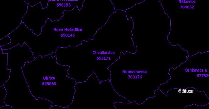 Katastrální mapa Chvalkovice
