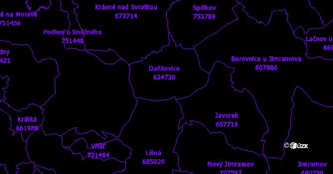 Katastrální mapa Daňkovice