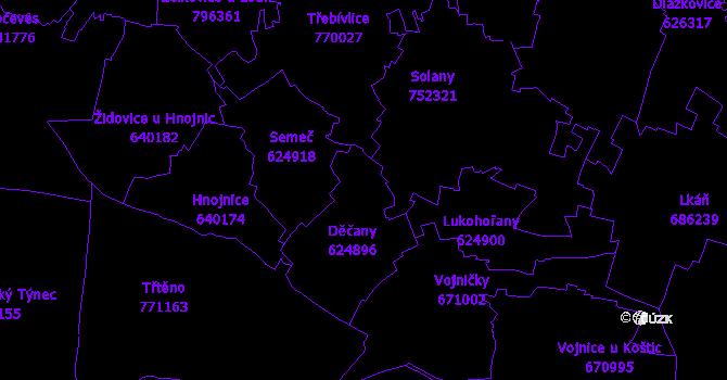 Katastrální mapa Děčany