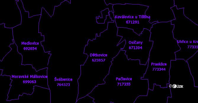 Katastrální mapa Dětkovice