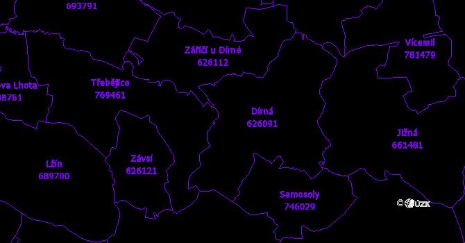 Katastrální mapa Dírná