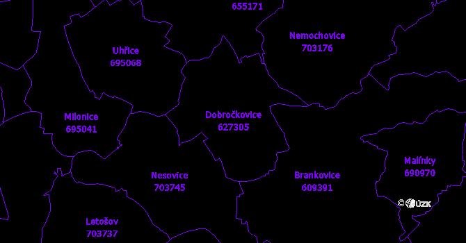 Katastrální mapa Dobročkovice