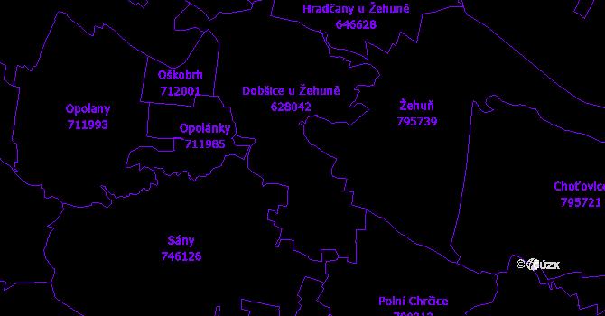Katastrální mapa Dobšice