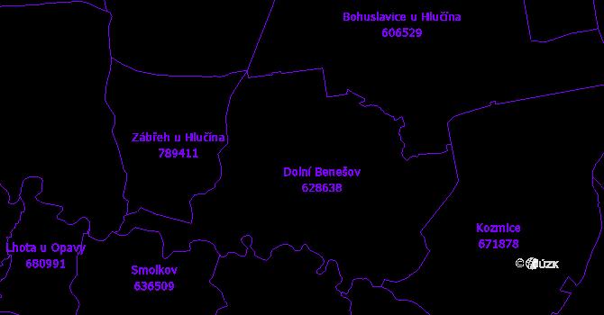 Katastrální mapa Dolní Benešov