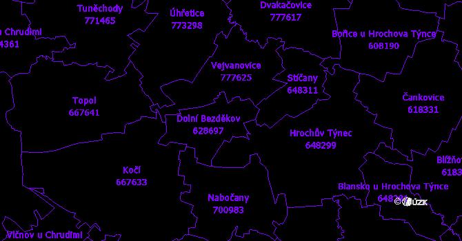 Katastrální mapa Dolní Bezděkov