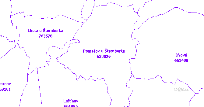 Katastrální mapa Domašov u Šternberka