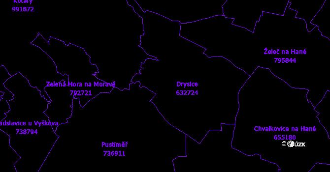 Katastrální mapa Drysice