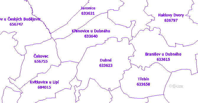 Katastrální mapa Dubné
