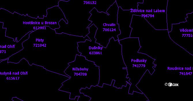 Katastrální mapa Dušníky