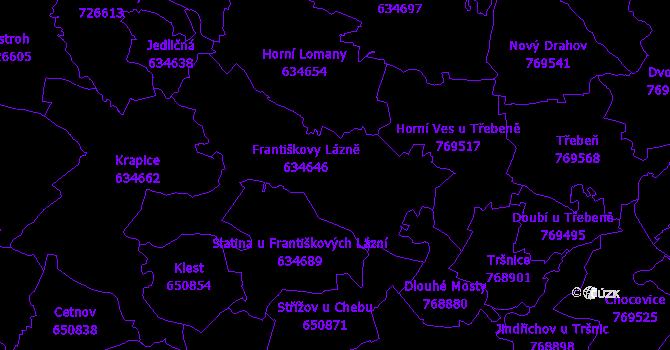 Katastrální mapa Františkovy Lázně