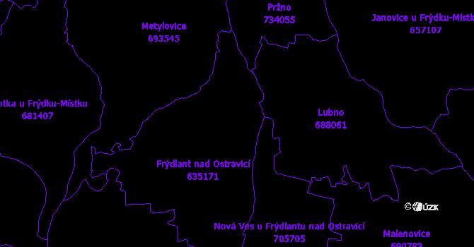 Katastrální mapa Frýdlant nad Ostravicí