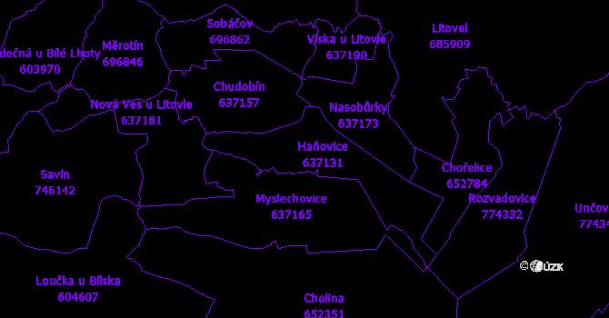Katastrální mapa Haňovice