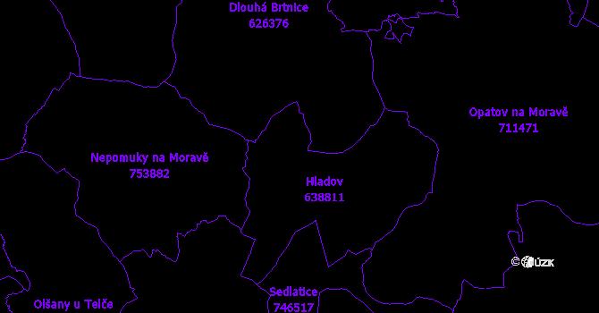 Katastrální mapa Hladov