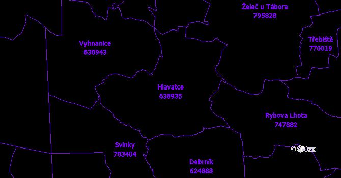 Katastrální mapa Hlavatce