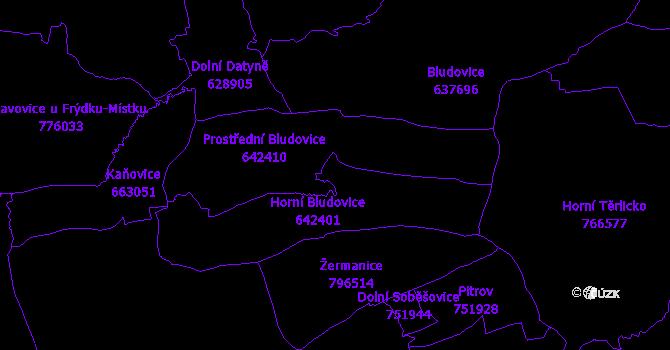 Katastrální mapa Horní Bludovice