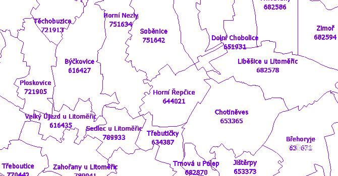 Katastrální mapa Horní Řepčice
